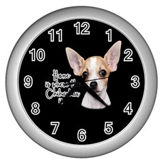 Chihuahua Wall Clocks (silver)  by Valentinaart