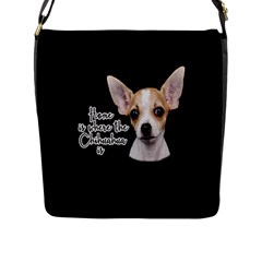 Chihuahua Flap Messenger Bag (l)  by Valentinaart