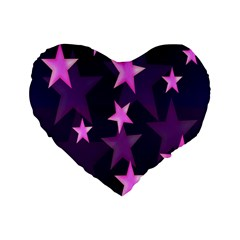 Background With A Stars Standard 16  Premium Flano Heart Shape Cushions by Nexatart
