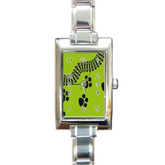 Green Prints Next To Track Rectangle Italian Charm Watch by Nexatart