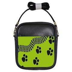 Green Prints Next To Track Girls Sling Bags by Nexatart