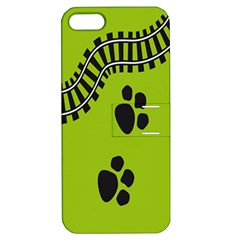 Green Prints Next To Track Apple Iphone 5 Hardshell Case With Stand by Nexatart