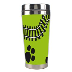 Green Prints Next To Track Stainless Steel Travel Tumblers by Nexatart