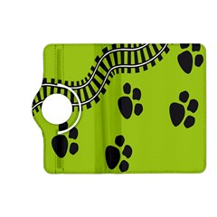 Green Prints Next To Track Kindle Fire Hd (2013) Flip 360 Case by Nexatart