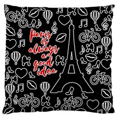 Paris Large Flano Cushion Case (one Side) by Valentinaart