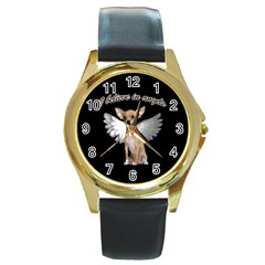 Angel Chihuahua Round Gold Metal Watch by Valentinaart