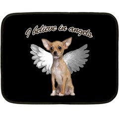 Angel Chihuahua Double Sided Fleece Blanket (mini)  by Valentinaart