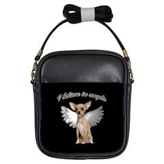 Angel Chihuahua Girls Sling Bags by Valentinaart