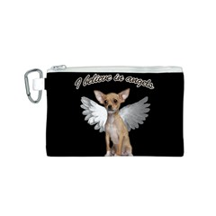 Angel Chihuahua Canvas Cosmetic Bag (s) by Valentinaart