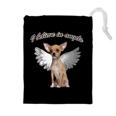 Angel Chihuahua Drawstring Pouches (extra Large) by Valentinaart