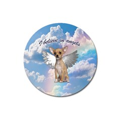 Angel Chihuahua Magnet 3  (round) by Valentinaart