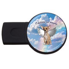Angel Chihuahua Usb Flash Drive Round (2 Gb) by Valentinaart