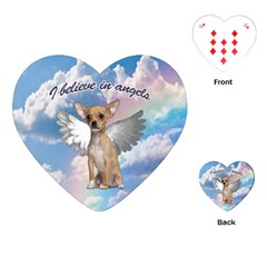 Angel Chihuahua Playing Cards (heart)  by Valentinaart