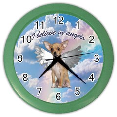 Angel Chihuahua Color Wall Clocks by Valentinaart
