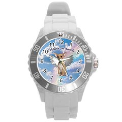 Angel Chihuahua Round Plastic Sport Watch (l) by Valentinaart