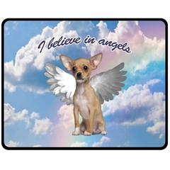 Angel Chihuahua Double Sided Fleece Blanket (medium)  by Valentinaart