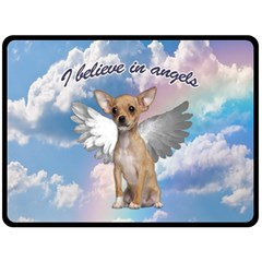 Angel Chihuahua Double Sided Fleece Blanket (large)  by Valentinaart