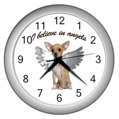 Angel Chihuahua Wall Clocks (silver)  by Valentinaart