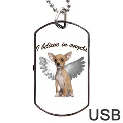 Angel Chihuahua Dog Tag Usb Flash (one Side) by Valentinaart