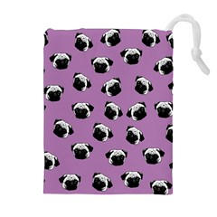 Pug Dog Pattern Drawstring Pouches (extra Large) by Valentinaart