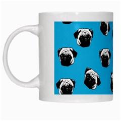 Pug Dog Pattern White Mugs by Valentinaart