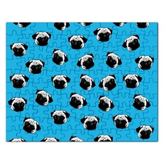 Pug Dog Pattern Rectangular Jigsaw Puzzl by Valentinaart