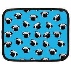 Pug Dog Pattern Netbook Case (large) by Valentinaart