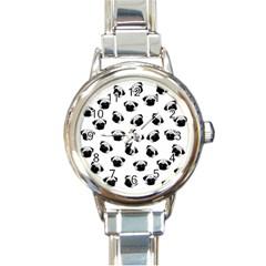 Pug dog pattern Round Italian Charm Watch