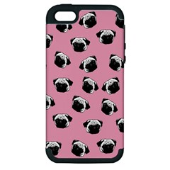 Pug Dog Pattern Apple Iphone 5 Hardshell Case (pc+silicone) by Valentinaart