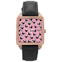 Pug Dog Pattern Rose Gold Leather Watch  by Valentinaart