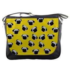 Pug Dog Pattern Messenger Bags by Valentinaart