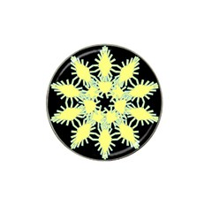 Yellow Snowflake Icon Graphic On Black Background Hat Clip Ball Marker (4 Pack) by Nexatart