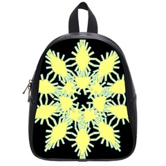 Yellow Snowflake Icon Graphic On Black Background School Bags (small)  by Nexatart
