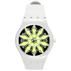 Yellow Snowflake Icon Graphic On Black Background Round Plastic Sport Watch (m)