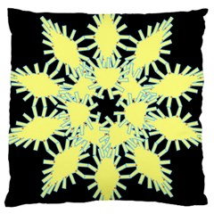 Yellow Snowflake Icon Graphic On Black Background Large Cushion Case (two Sides) by Nexatart