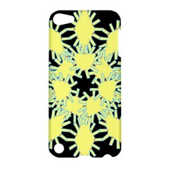 Yellow Snowflake Icon Graphic On Black Background Apple Ipod Touch 5 Hardshell Case by Nexatart