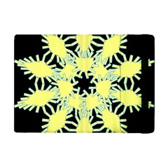 Yellow Snowflake Icon Graphic On Black Background Apple iPad Mini Flip Case by Nexatart