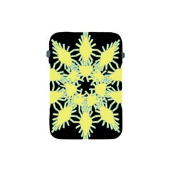 Yellow Snowflake Icon Graphic On Black Background Apple Ipad Mini Protective Soft Cases by Nexatart