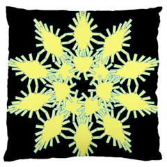 Yellow Snowflake Icon Graphic On Black Background Standard Flano Cushion Case (one Side) by Nexatart