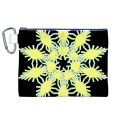 Yellow Snowflake Icon Graphic On Black Background Canvas Cosmetic Bag (xl) by Nexatart