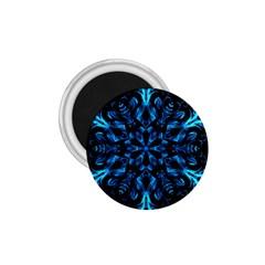 Blue Snowflake On Black Background 1 75  Magnets by Nexatart