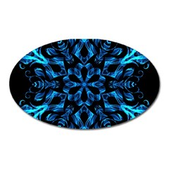 Blue Snowflake On Black Background Oval Magnet