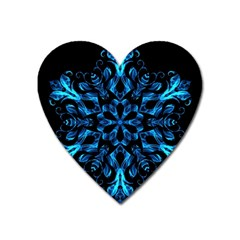 Blue Snowflake On Black Background Heart Magnet by Nexatart