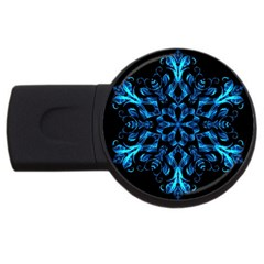 Blue Snowflake On Black Background Usb Flash Drive Round (2 Gb) by Nexatart