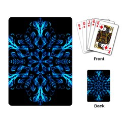 Blue Snowflake On Black Background Playing Card by Nexatart