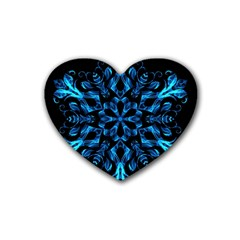 Blue Snowflake On Black Background Rubber Coaster (heart)  by Nexatart