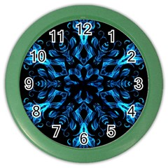 Blue Snowflake On Black Background Color Wall Clocks by Nexatart