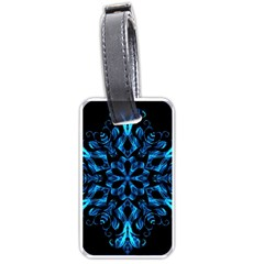 Blue Snowflake On Black Background Luggage Tags (one Side)  by Nexatart