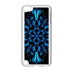 Blue Snowflake On Black Background Apple Ipod Touch 5 Case (white) by Nexatart