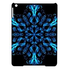 Blue Snowflake On Black Background Ipad Air Hardshell Cases by Nexatart